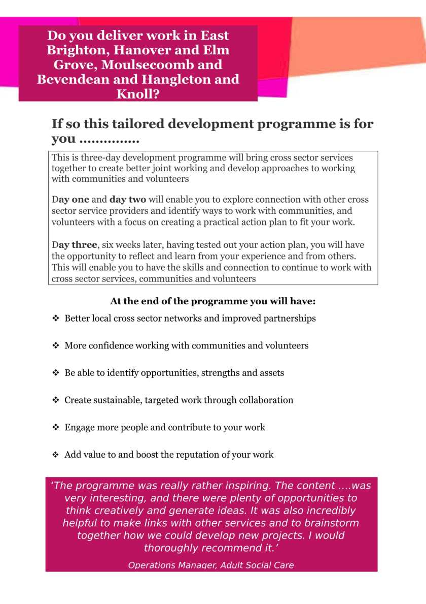Community development training brighton