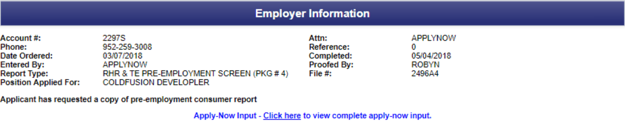Employer information on trusted employees background report.