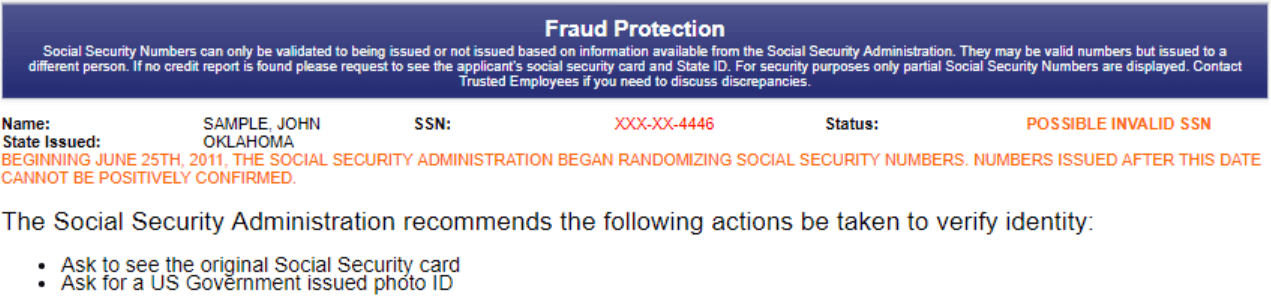 What a fraud protection report looks like.