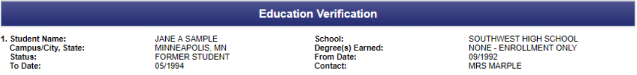 Education verification will show you the schools the applicant attended, the dates they attended, and degrees earned.