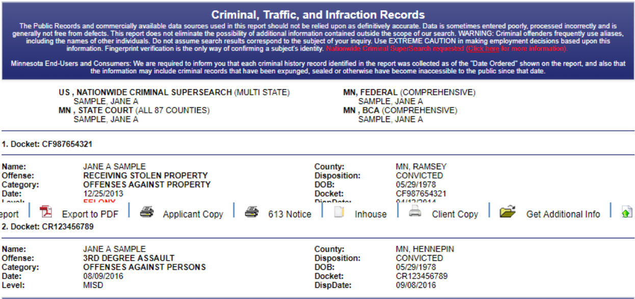 This is a sample for the results of a criminal, traffic, and infraction records check.