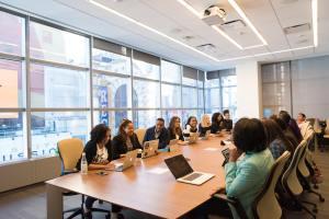 A room full of potential job candidates represents a large talent pool