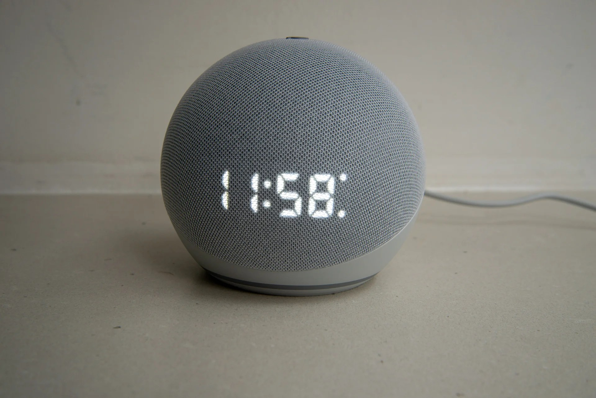 Amazon Echo Dot with Clock (4th Generation) timer and alarm set