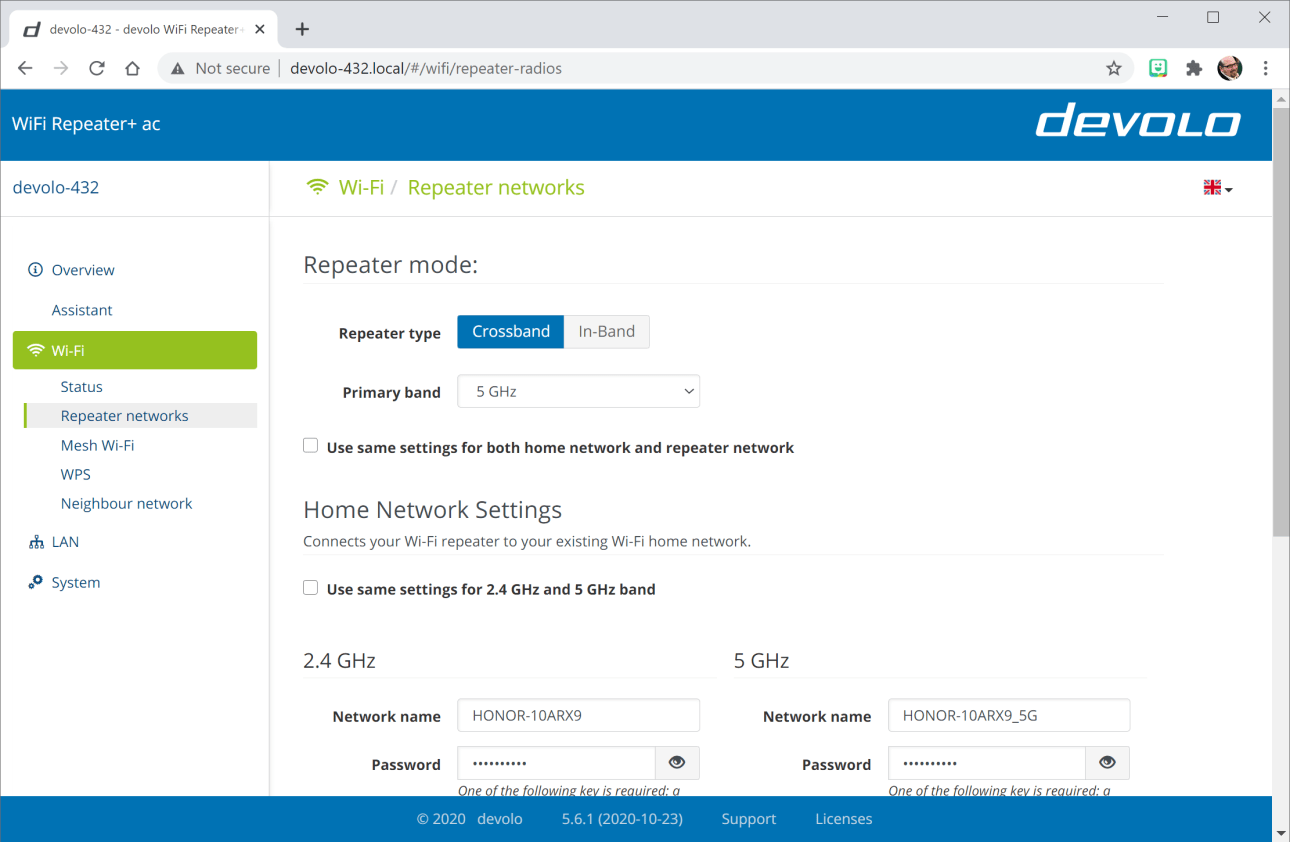 Devolo WiFi Repeater + основной интерфейс переменного тока