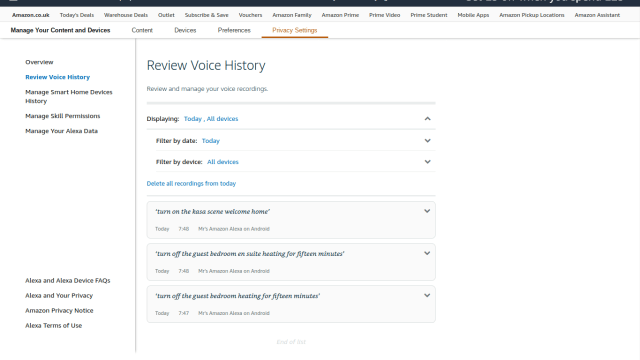set filters for voice history in Alexa