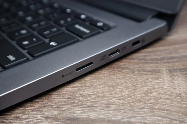 MicroSD and USB-C ports on the laptop's right side