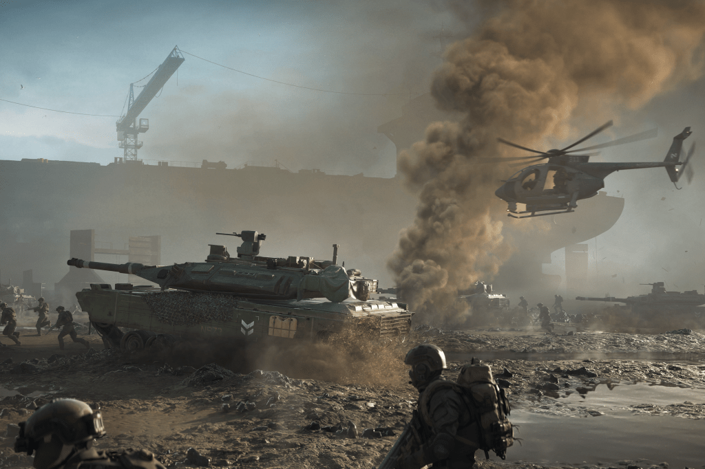 Battlefield 2042: Tank and helicopter follow an army of infantry