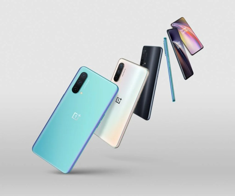 The OnePlus Nord CE phone in all colours
