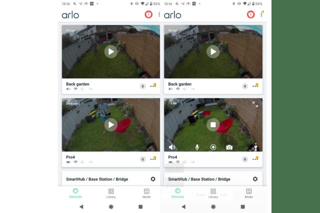 Arlo Pro 4 live view