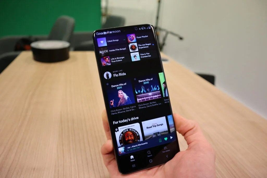 Spotify running on the Galaxy S20 Ultra