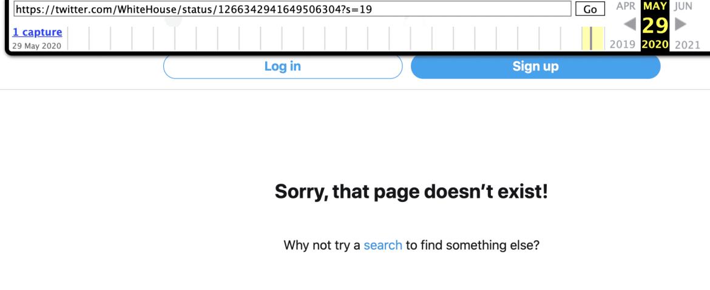 Archive.org no archivará el tweet censurado de Whitehouse, mayo de 2020