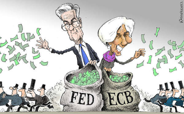 FED, ECB, printer, satire, Nov 2020
