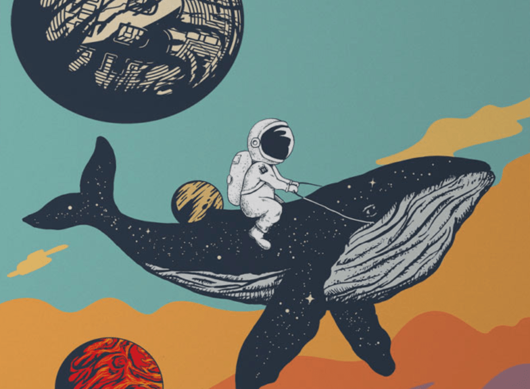 Bitcoin art. Astronaut flying a whale to the moon, April 2021