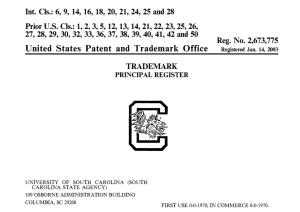South Carolina Block C Trademark Registration
