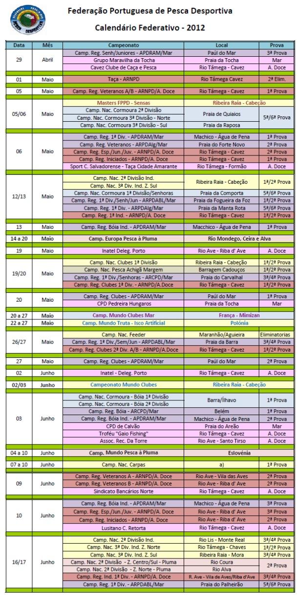 Calendário Pesca Água Doce 2012-1