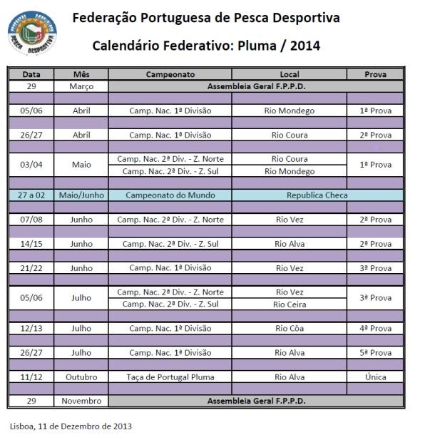 Calendário Pesca Pluma 2014