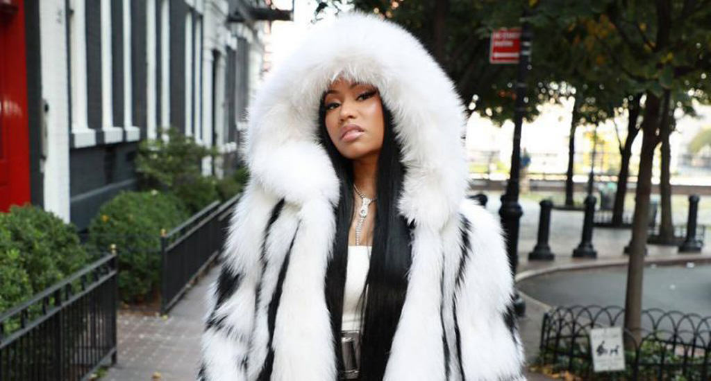Nicki Minaj wears fur by Oscar de la Renta