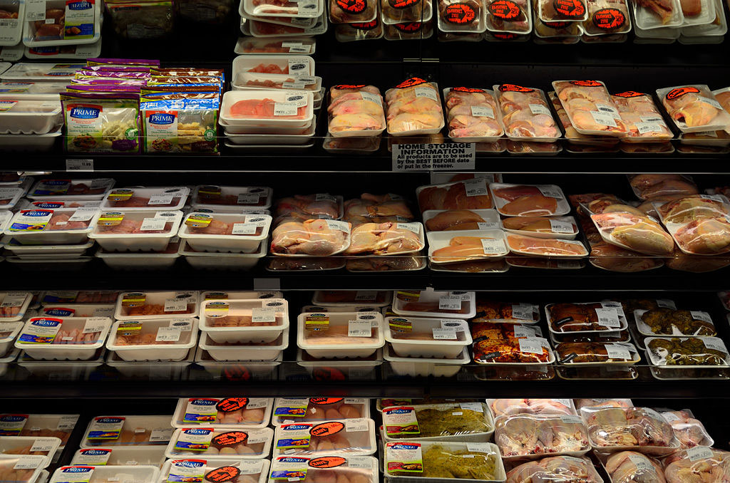 processed meat in supermarket