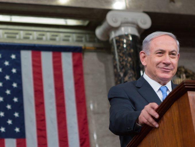 Benjamin Netanyahu at a podium in Congress.