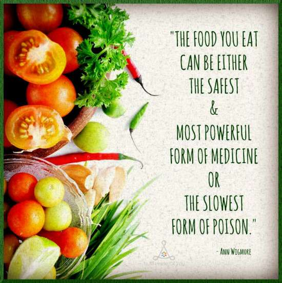The food you eat can be either the safest and most powerful form of medicine or the slowest form of poison. ~ Ann Wigmore