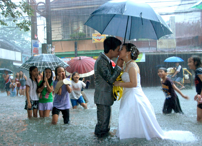married during a monsoon in Manila.