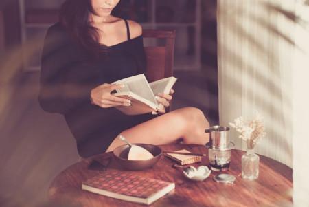 Woman reading poem