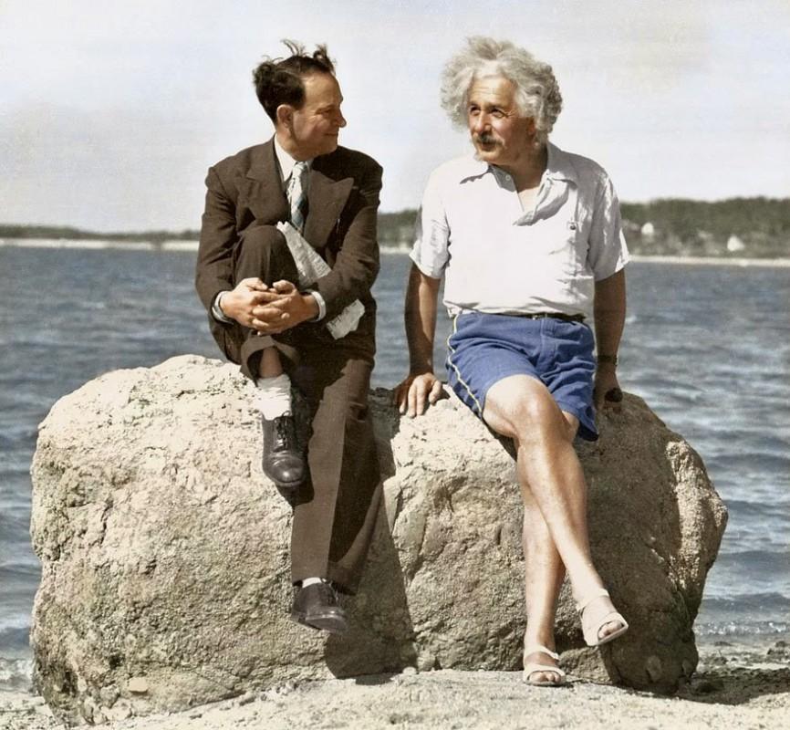 Albert Einstein in the summer of 1939 in Long Island, New York.