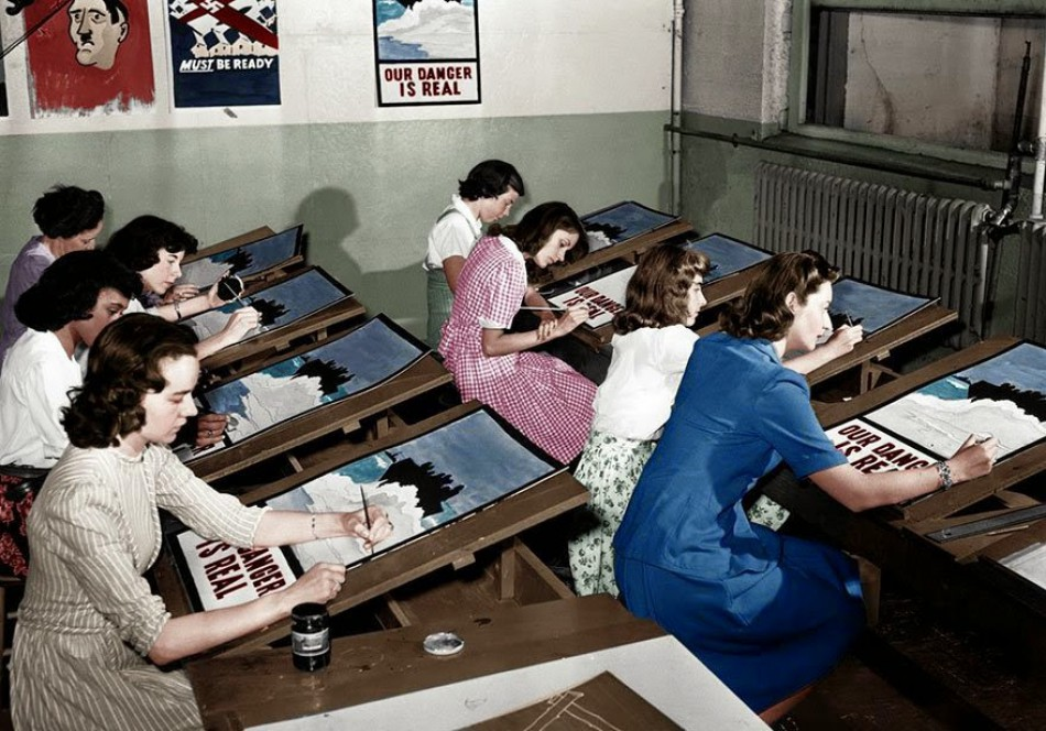 Painting propaganda posters during the Second World War in New York, July 8, 1942