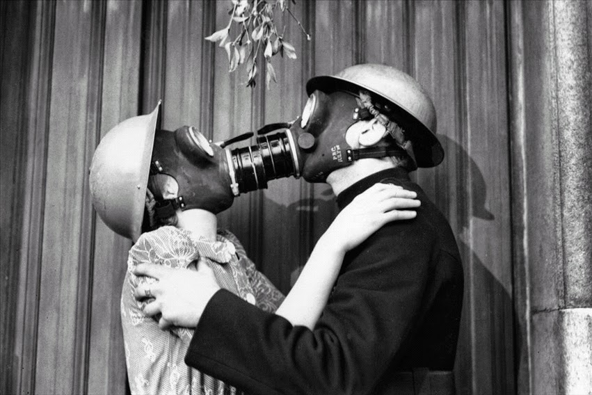 Gas Mask Kiss, London December 1940