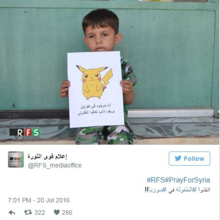 The touching photos of children from Syria with Pokemon Go characters. (3)