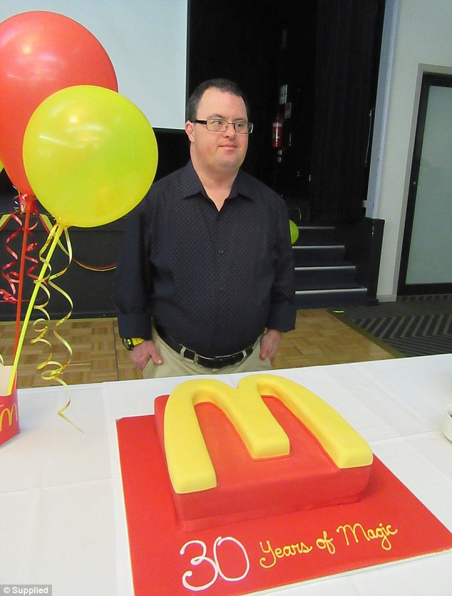 Russell is a much loved colleague at McDonald's in Northmead, as proven by the store's celebration of his 30th anniversary in the job (pictured)