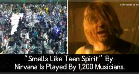 """Smells Like Teen Spirit"" By Nirvana Is Played By 1,200 Musicians."