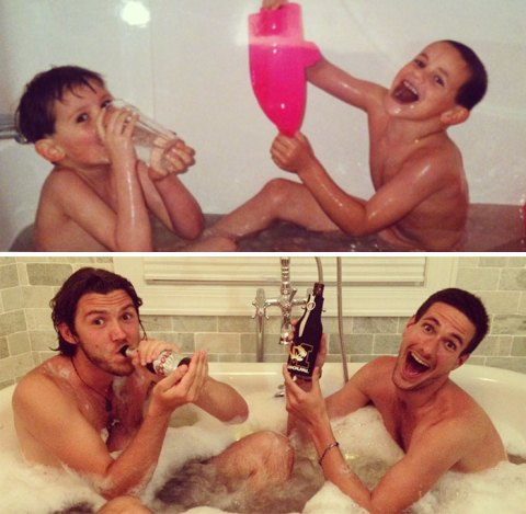 My Little Brother And His Best Friend In A Tub. Then And Now