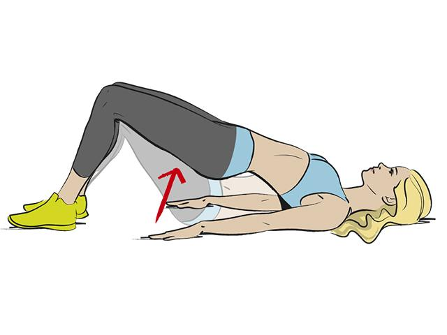 5. Practice glute bridges to relax your glutes