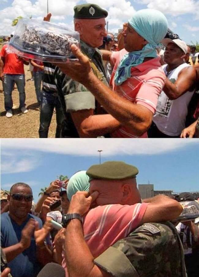 7. During a protest in Brazil, an officer asked the participants to forgo any collisions on his birthday. In response, a group of protesters surprised him with this.