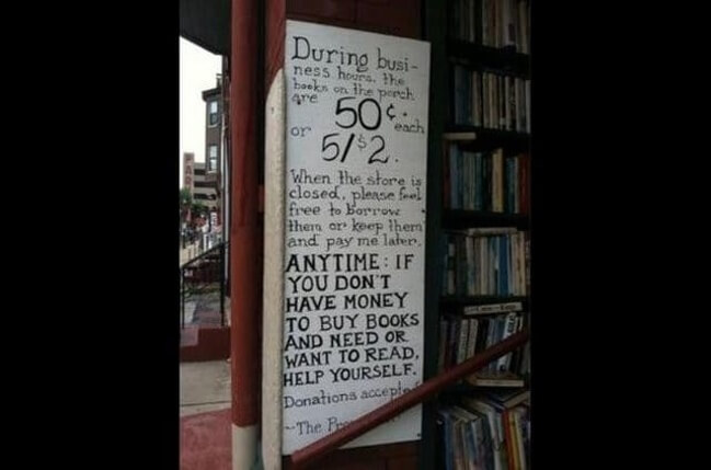 21. A very generous bookstore.