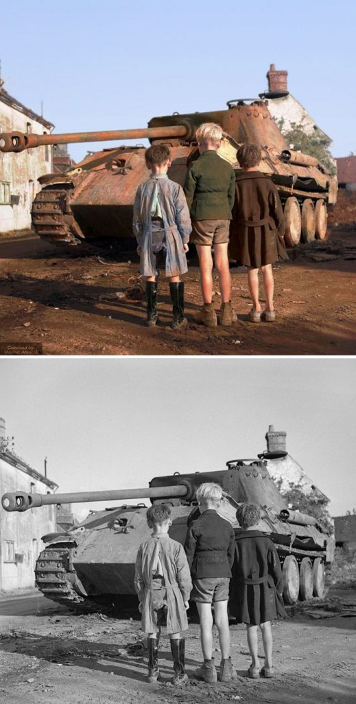 Three French Boys Looking At A Knocked-out German Panther Tank