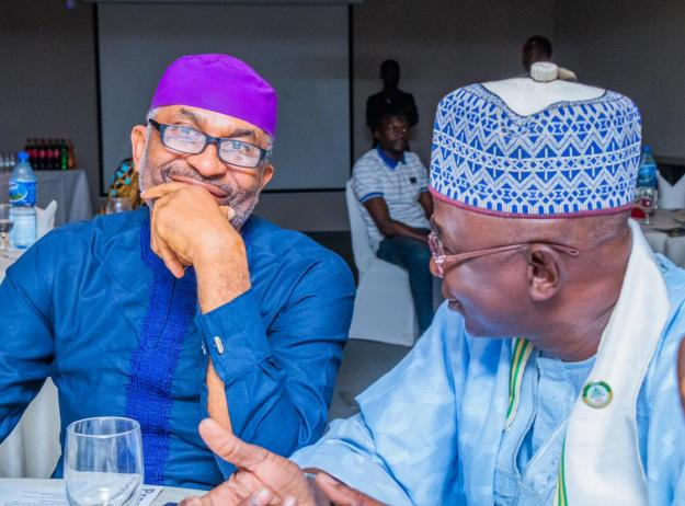 Former Rivers State Gubernatorial Aspirant and Member of the ABU Geology Class of '86, Mr Ashley Emenike (Left), discussing with his friend and member of the class, Alh Abdu Awwal Likoro, Managing Director, Likrocks Nigeria Limited.