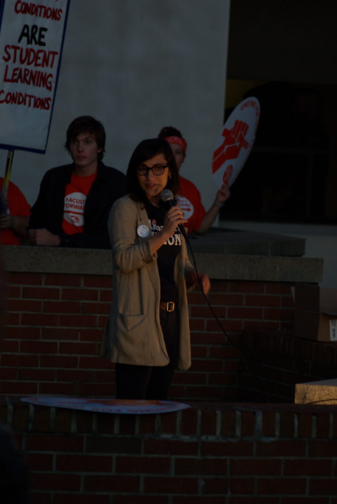 Sarah Grundberg speaks at Ithaca College faculty union protest, Oct. 19, 2016. Photograph: Josh Brokaw