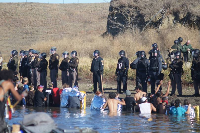 Bathing at the Dakota Access pipeline protests. Uploaded to Facebook Nov. 2, 2016. Photo: David Guthrie