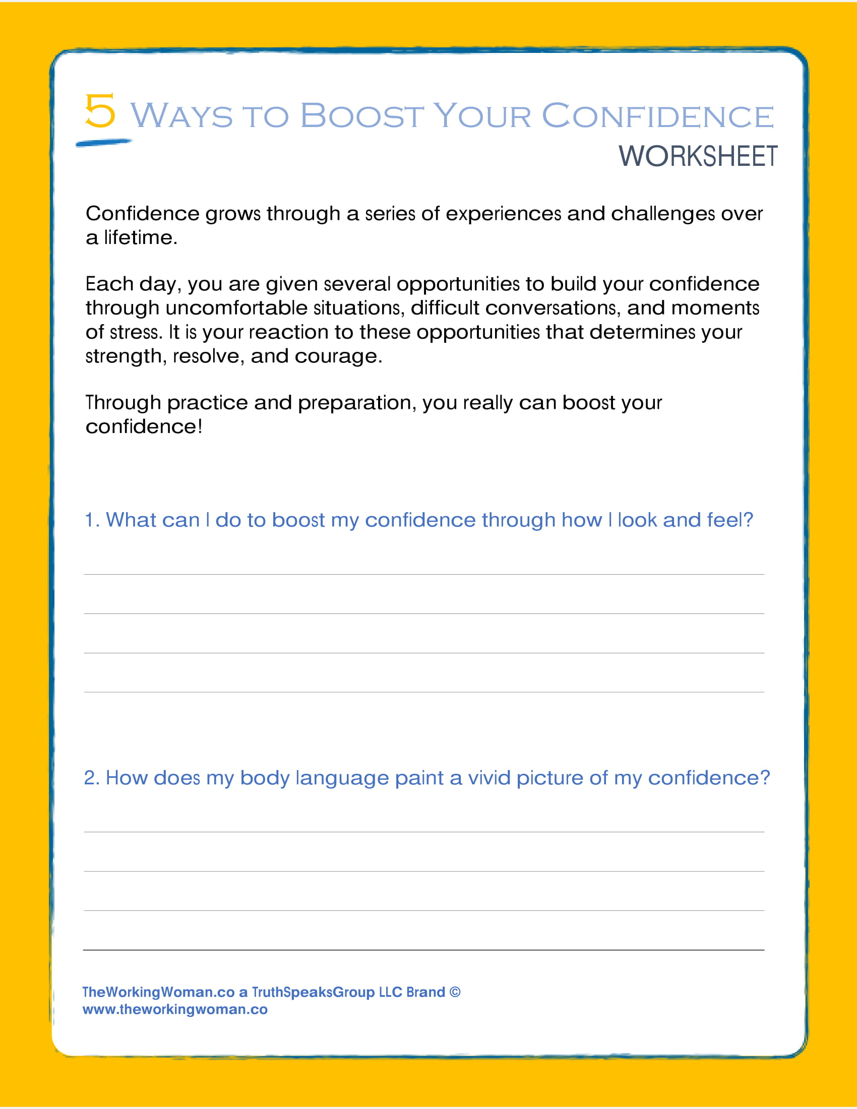 5 Ways To Boost Your Confidence Worksheet