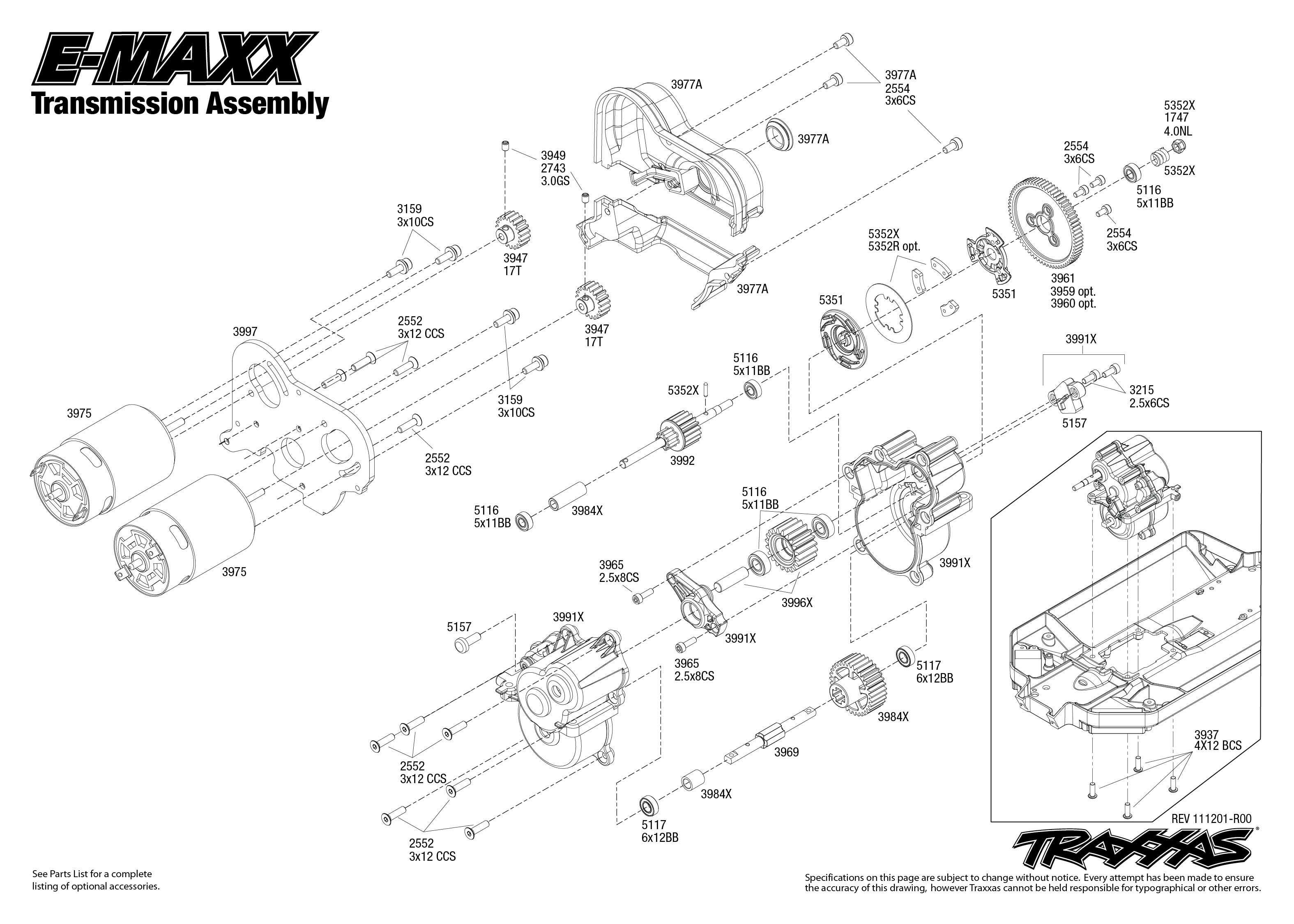 Traxxas Bouwtekening Transmissie E Maxx