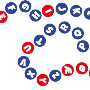 Alfabetraketten med vokaler og konsonanter