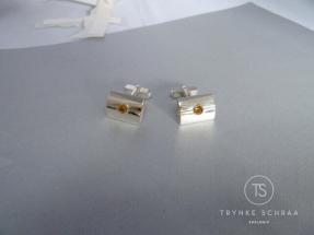 Zilveren met goud en citrien manchetknopen