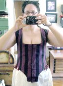Stripey polonaise bodice, in-progress, mirror shot