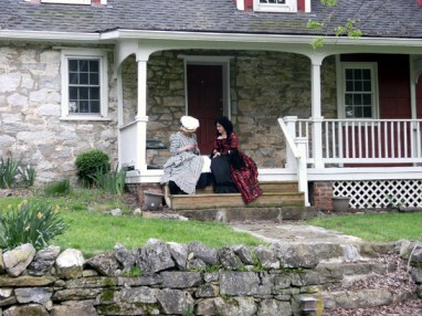 Donna and Trystan on the steps of Loren's 'spare' house, photo from Sarah
