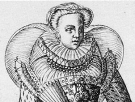 1581 - French noblewoman from Omnium Poene Gentium Habitus by Abraham de Bruyn (image source: elizabethan-portraits.com)