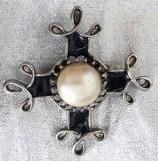 Black enamel & pearl brooch