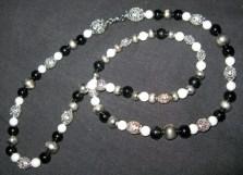 Silver, black, & pearl girdle