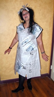 Finished newspaper dress
